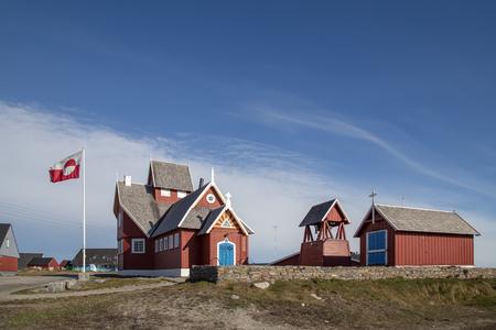 Church in Qeqertarsuaq, Greenland Stock Photo