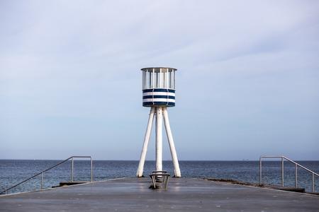 Lifeguard Tower at Bellevue Beach in Copenhagen, Denmark Stock Photo