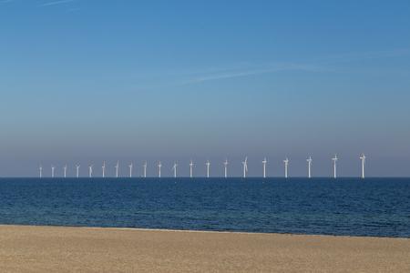 Offshore wind power plants at Amager Beach in Copenhagen