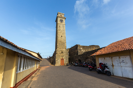 Galle Fort, Sri Lanka - July 29, 2018: The Clock Tower, a popular landmark inside the historical Dutch Fort Editorial