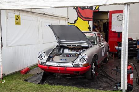 Copenhagen, Denmark -  August 6, 2017: A silver Porsche 911 with open engine hood exhibited at the Historic Grand Prix 2017.