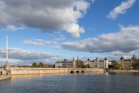 Copenhagen, Denmark - October 4, 2016: Queen Louises Bridge in Norrebro district on a sunny day. Queen Louises Bridge is a bridge across The Lakes in central Copenhagen. Editorial