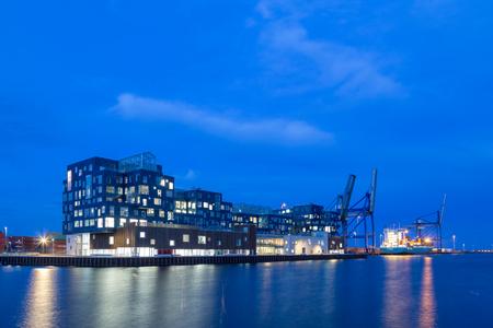 Copenhagen, Denmark - March 12, 2017: Exterior view of Copenhagen International School CIS in Nordhavn district in the evening Editorial