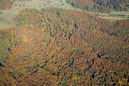Aerial view of the Black Forest during autumn in Baden-Wurttemberg in Southern Germany.