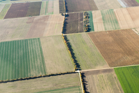 Aerial view of fields during autumn in Baden-Wurttemberg in Southern Germany. Stock Photo