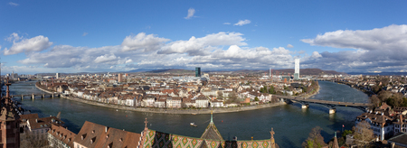 Basel, Switzerland - March 10, 2019: Panoramic View over Basel from top of the Basel Minster.