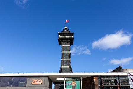 Copenhagen, Denmark - March 19, 2019:  The observational tower in Copenhagen Zoo. Editorial