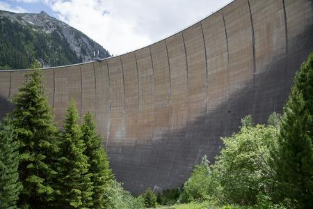 Finkenberg, Austria - June 9, 2018: View of the Schlegeis Dam in the Zillertal valley.