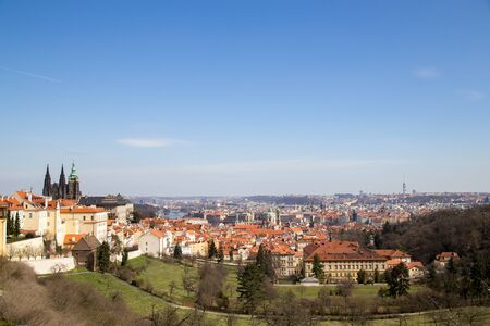 Prague, Czech Republic - March 16, 2017: Panoramic view over the city from Strahov Monastery Stock Photo