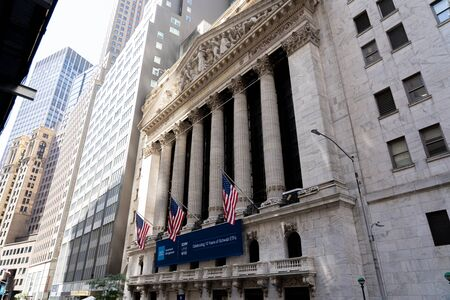 New York, United States of America - September 19, 2019: Facade of the Stock Exchange buidling on Wall Street Editorial