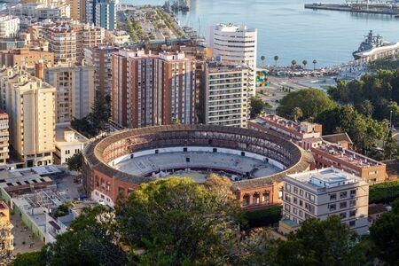 Malaga, Spain - May 25, 2019: Aerial view of the bull ring La Malagueta. Editorial
