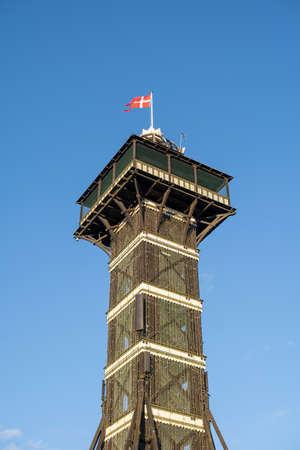 Copenhagen, Denmark - January 03, 2021: The observational tower in Copenhagen Zoo. Copenhagen Zoo is was founded in 1859 and is one of the oldest zoos in Europe.