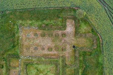 Drone view of Aebelholt Abbey Ruins, Denmark Foto de archivo