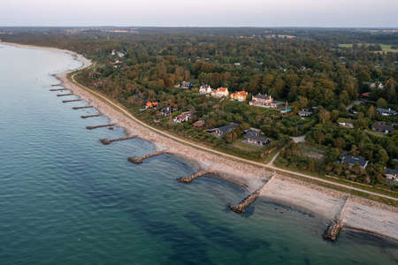 Aerial View of coastline in North Zealand, Denmark