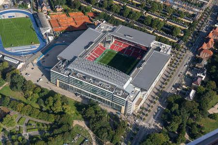 Aerial View of Parken Stadium in Copenhagen, Denmark