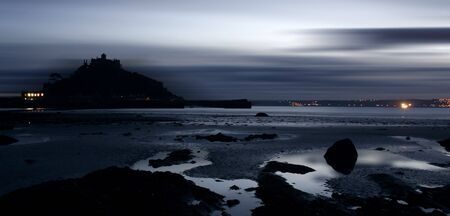 erie night fall over st michaels mount at low tide