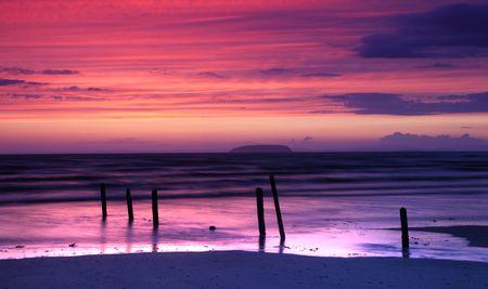 burnham on sea: Panoramic sunset at Burnahm on sea