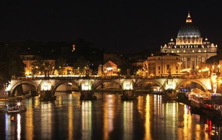 St Peters at night and Ponte Vittorio Emanuele 2nd Bridge  Stock Photo