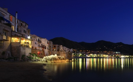 Night time on Cefalu beach