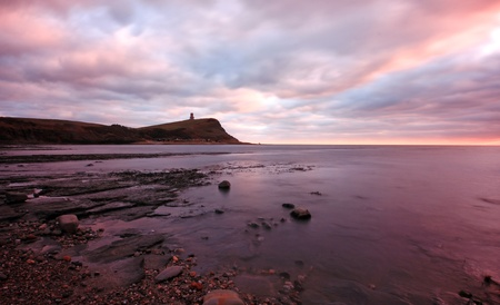 sunset over kimmeridge cliffs photo
