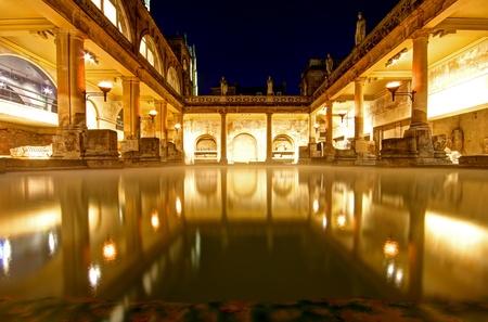 Old roman baths at bath, england, built on the site of the godess aquae suilis