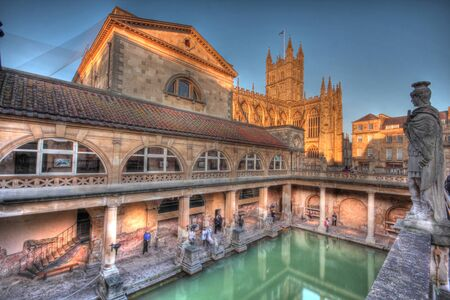 Reconstructed roman baths over old roman ruins & natural hot spring Stock Photo