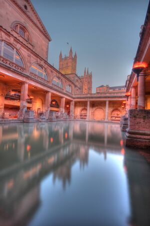 The remains and reconstruction of the roman baths at Bath