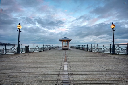Winter skies over the Pier in Swanage bay