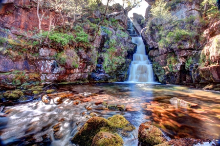Ardessie falls in the beautiful scotish highlands in high dynamic range Stock Photo