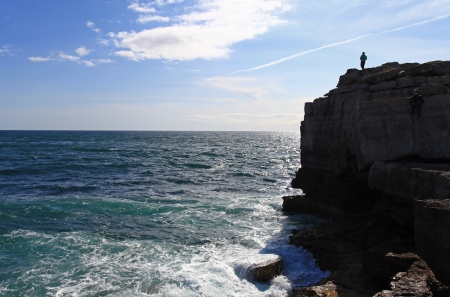 Pulpit Rock famous landmark in portland dorset england photo