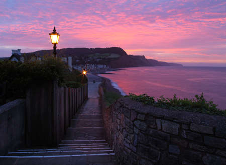 Street lights still on at sunrise in Sidmouth