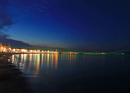 lazer: Lazer show over weymouth seafront a feature built for the 2012 olympics Stock Photo