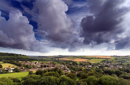 English countryside view over Cerne abbas village Stock Photo