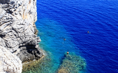 Crystal clear waters near Anthony Quinn Bay in Rhodes Greece Stock Photo