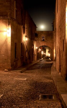 The ancient street of the knights in Rhodes Greece photo