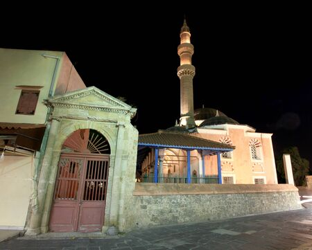 nightime: Historic mosque in Rhodes old Town at nightime