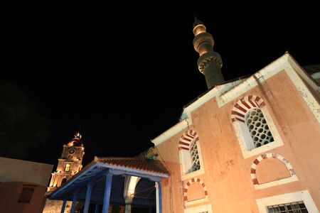 Historic mosque in Rhodes old Town at nightime