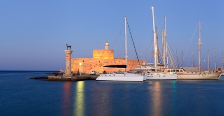 Mandraki Harbour where the colossus of Rhodes used to be located photo