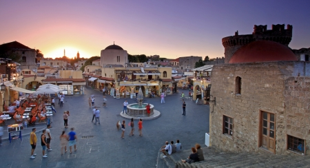 sunset over mediterranean Old rhodes town main square