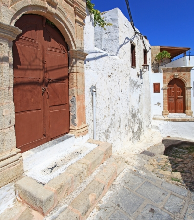 Traditional architecture in the streets and backalleys of Lindos in  Rhodes Greece