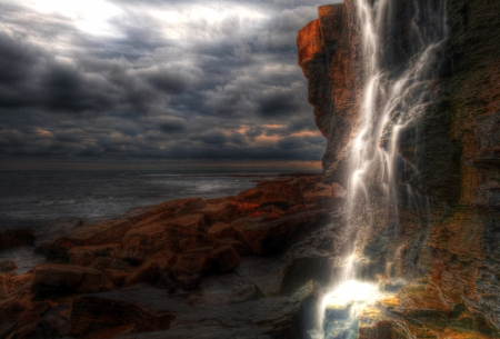 Waterfall landscape and seascape in high dynamic range on the southern British coast