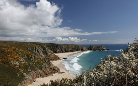 porthcurno: On top of the cliff looking down at Porthcurno bay