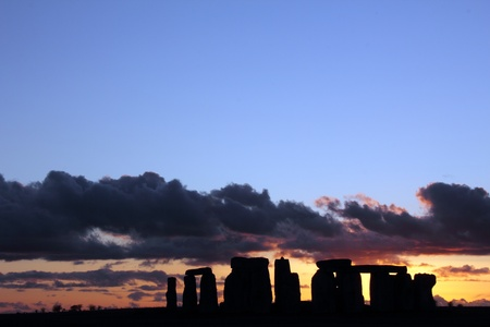 stoneage: Ancient stoneage monument of stonehenge at sunset in wiltshire