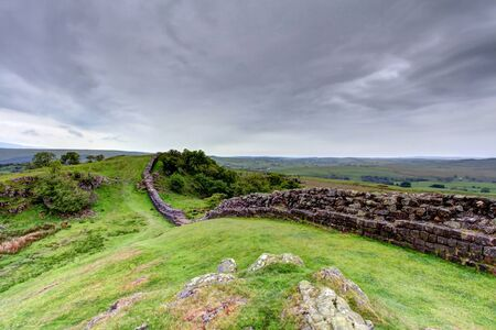 hadrian: The ancient roman remains of hadrians wall on the english scotish boarder in the un ited kingdom