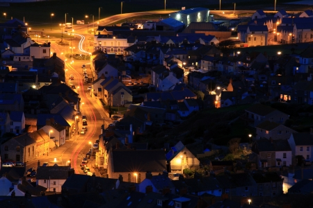 Terraced houses at night time on portland dorset