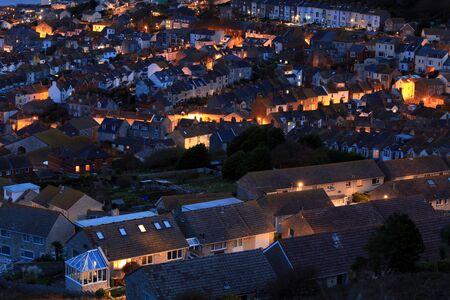 neighborhood: Terraced houses at night time on portland dorset