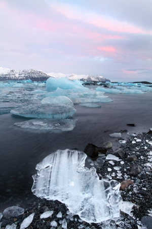 The glacier lagoon at sunrise in vatnajokull national parl Stock Photo - 17102936
