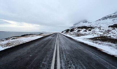 fjords: Open frozen roads in icelands east fjords in mid winter