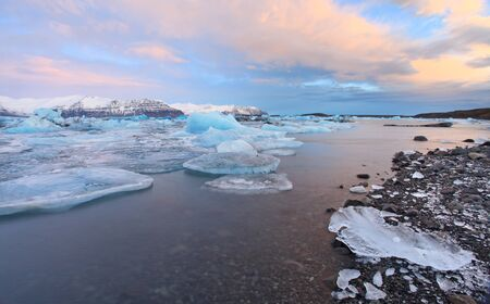 The glacier lagoon at sunrise in vatnajokull national parl photo