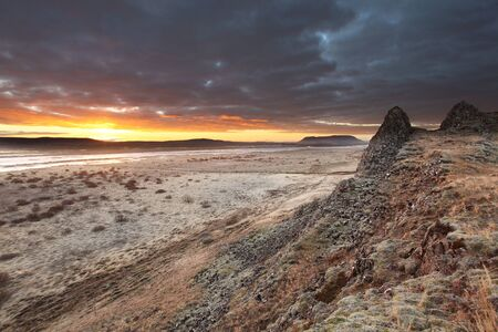 Sunrise over barren lands in southern iceland  photo